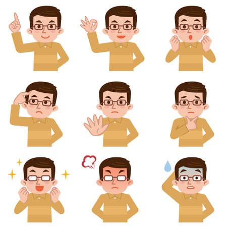 expresiones faciales: Conjunto de expresiones faciales hombre de mediana edad en el fondo blanco Vectores