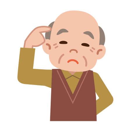 年配の男性を考える  イラスト・ベクター素材