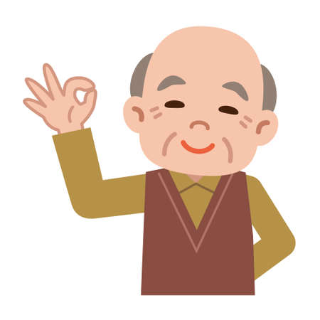 asian adult: OK sign of senior men