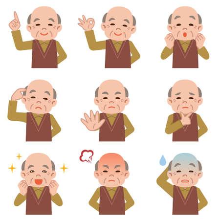 白い背景の上の年配の男性の表情のセット