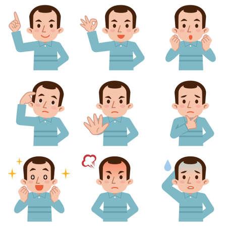 persona triste: Conjunto de expresiones faciales hombre de mediana edad en el fondo blanco Vectores