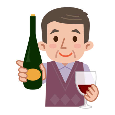 one people: Middle-aged men with wine Illustration
