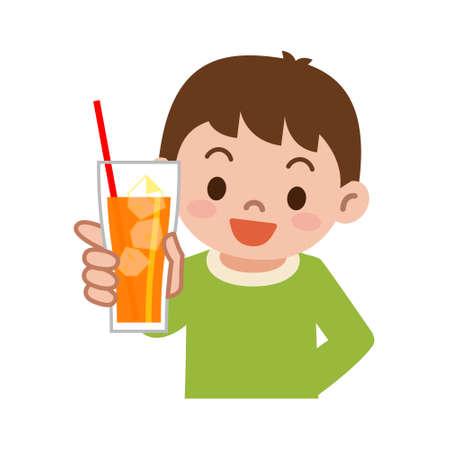 tomando jugo: Muchacho con el zumo de naranja Vectores