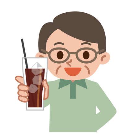 Senior men with ice coffee