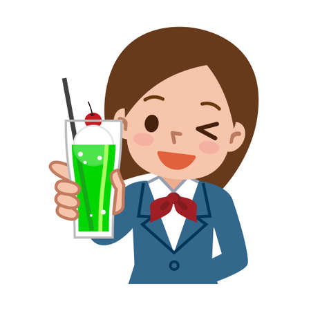 soda: Girl with a cream soda juice