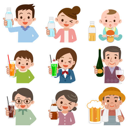 People who drink a drink 向量圖像
