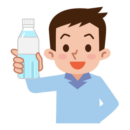 asian adult: Men with a bottle of water