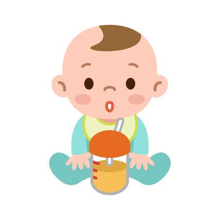 ドリンクを飲みながら赤ちゃん