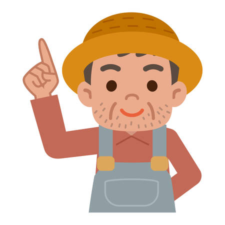 pointing up: Farmer pointing up Illustration