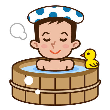 cartoon wood bucket: Man in bathing tub