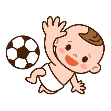 サッカー ボールと赤ちゃん
