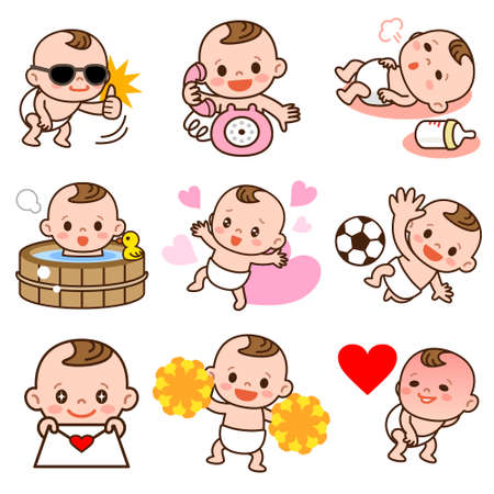 sad cute baby: Set of baby illustrations