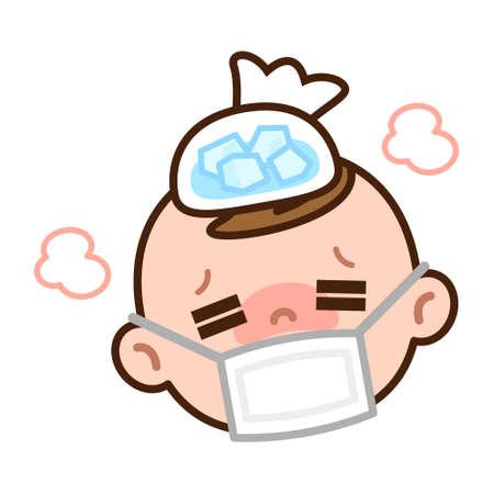 アイスパックで頭を冷やして赤ちゃん  イラスト・ベクター素材