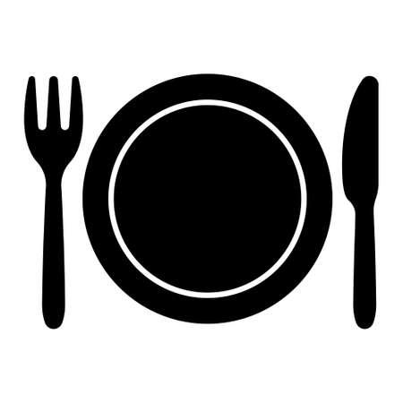 Plato y cuchillo y tenedor de icono