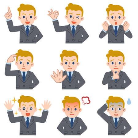 conjunto de la expresión facial del hombre de negocios joven de raza caucásica