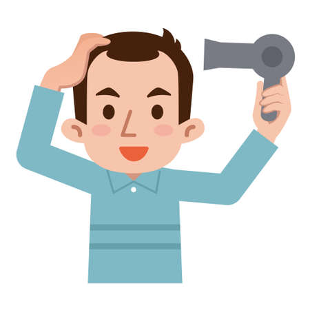 male hair: Man to dry the hair with a dryer Illustration