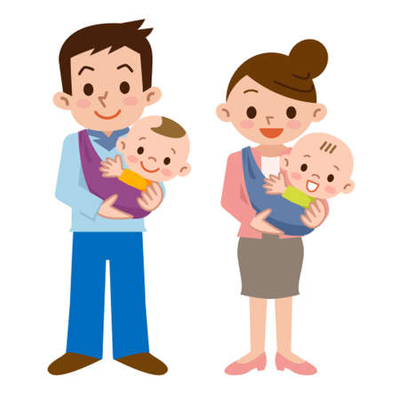 asian: Father and mother and baby Illustration