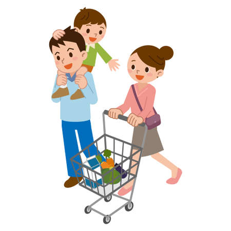 happy asian people: Family in shopping Illustration
