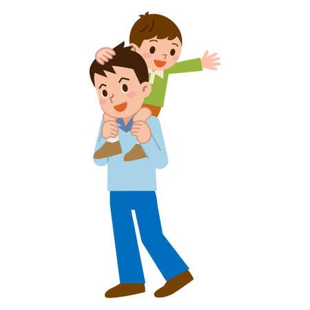 親と子をおんぶする