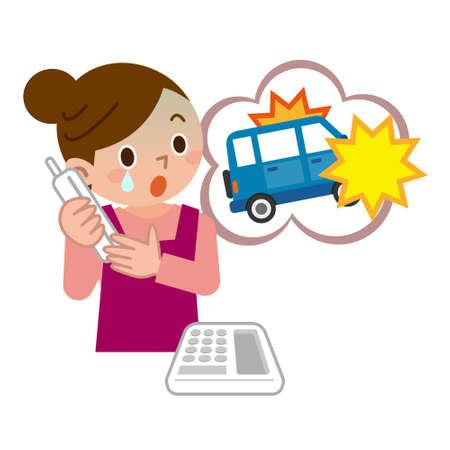 Kobieta zdziwiona kontaktem z wypadkiem drogowym