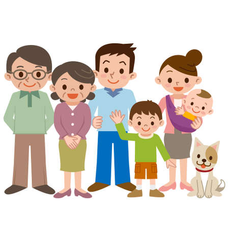 Happy three generation family of smile 일러스트