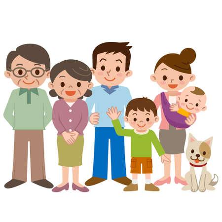 Happy three generation family of smile Stock Illustratie