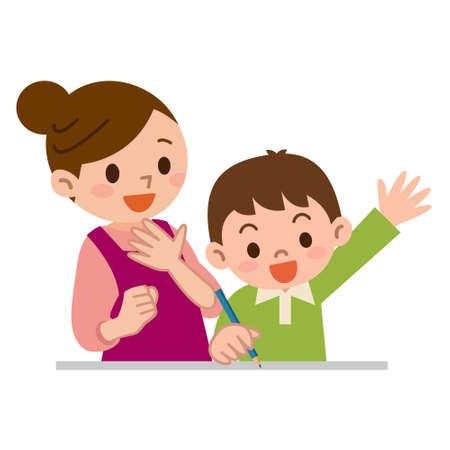 母親は子供たちに勉強を教えて  イラスト・ベクター素材