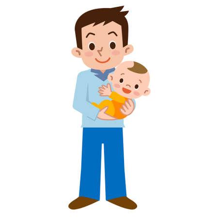 Vader en baby  Vector Illustratie