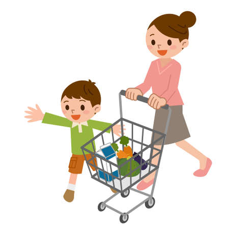 while: Parent-child while shopping Illustration