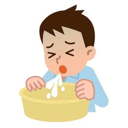 vomiting: Young man who vomits