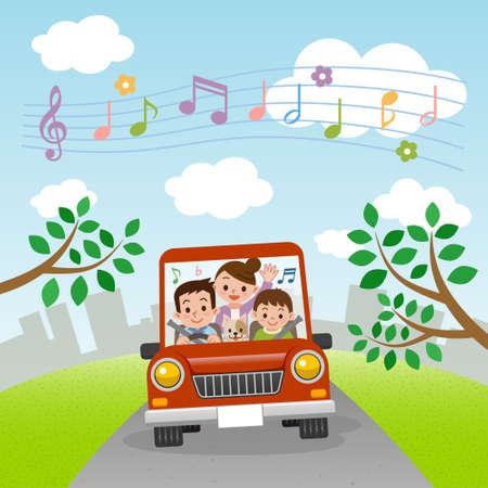 Famille monte en voiture avec la musique
