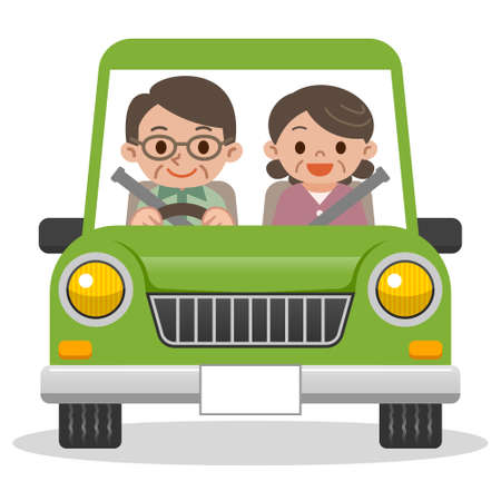 happy mature couple: Senior couple driving in car