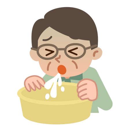 nausea: Senior man vomiting