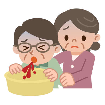 Senior woman who cares for vomiting blood senior man