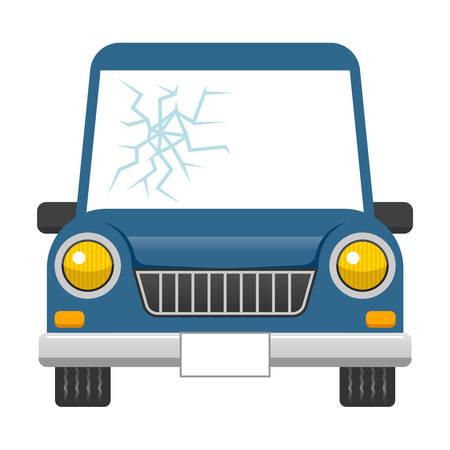 windshield: Broken car windshield