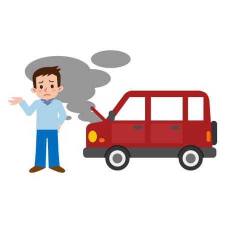 자동차 고장으로 어려움을 겪고있는 남성들