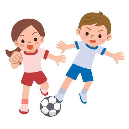 子供サッカーします。  イラスト・ベクター素材