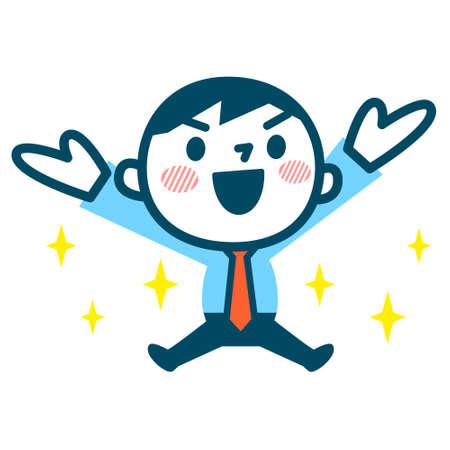 Illustration of Businessman rejoice