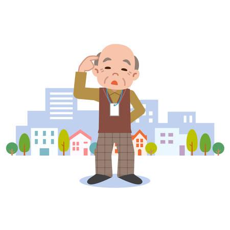 認知症のシニア男性  イラスト・ベクター素材