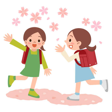 asian children: Illustration of girls freshman