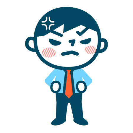 anger: Young businessman is angry Illustration