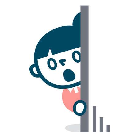Woman looking into hiding Иллюстрация