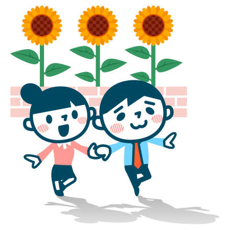 hand holding flower: Young men and women have been dating Illustration