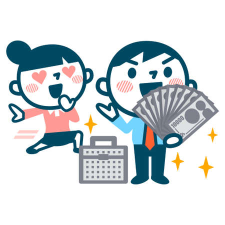 rich couple: Women who fall in love with men of the rich Illustration