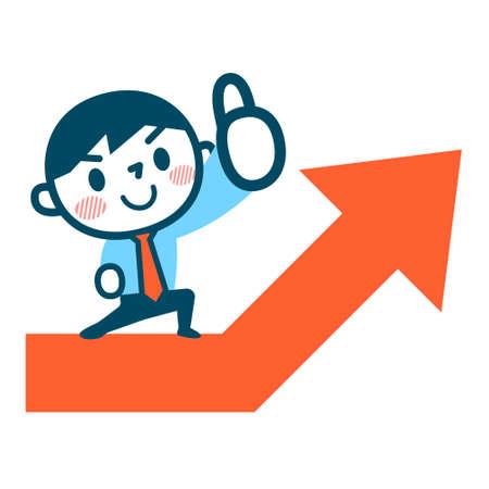 Rise and businessman Stock Illustratie