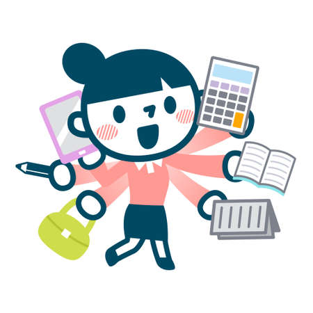 Illustration of busy career woman