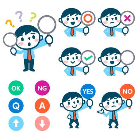 Los hombres tienen un plato de señal para responder correcta o incorrecta Ilustración de vector