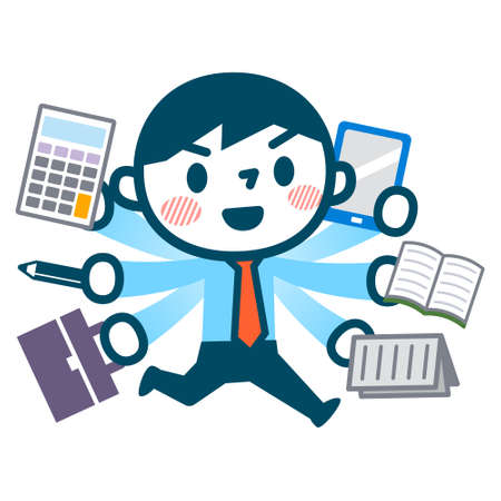 multitask: Illustration of busy businessman