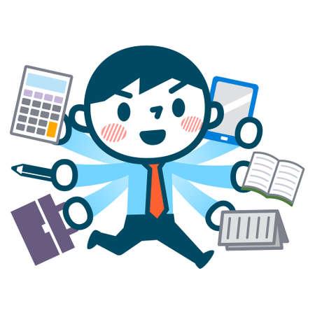 telefono caricatura: Ilustración de hombre de negocios ocupado