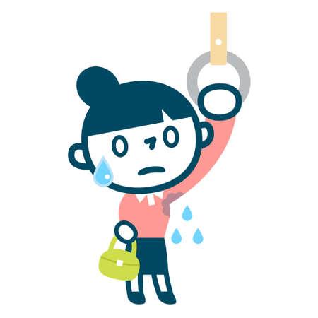 sweaty: Woman suffering aside sweat Illustration